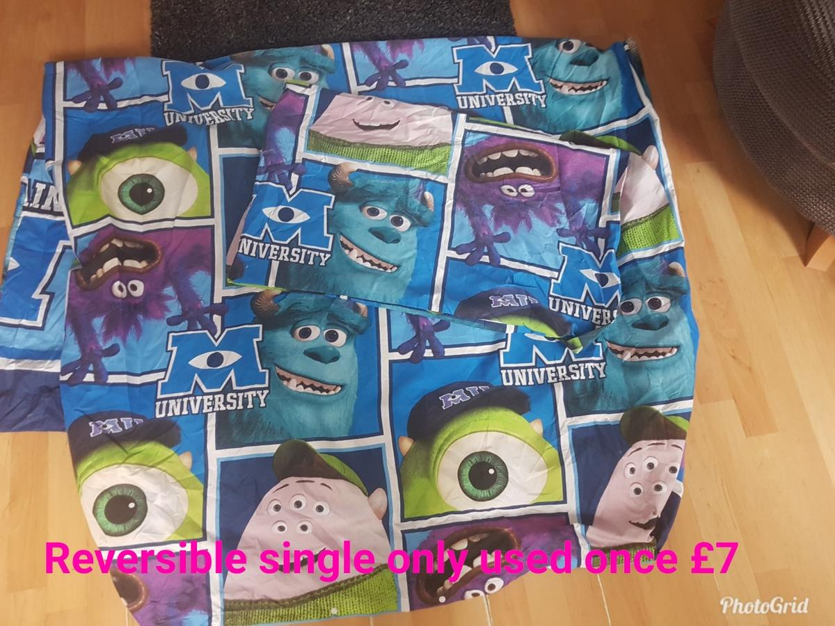 Monsters Inc £7 only used once princess and trolls £5 owl set £3