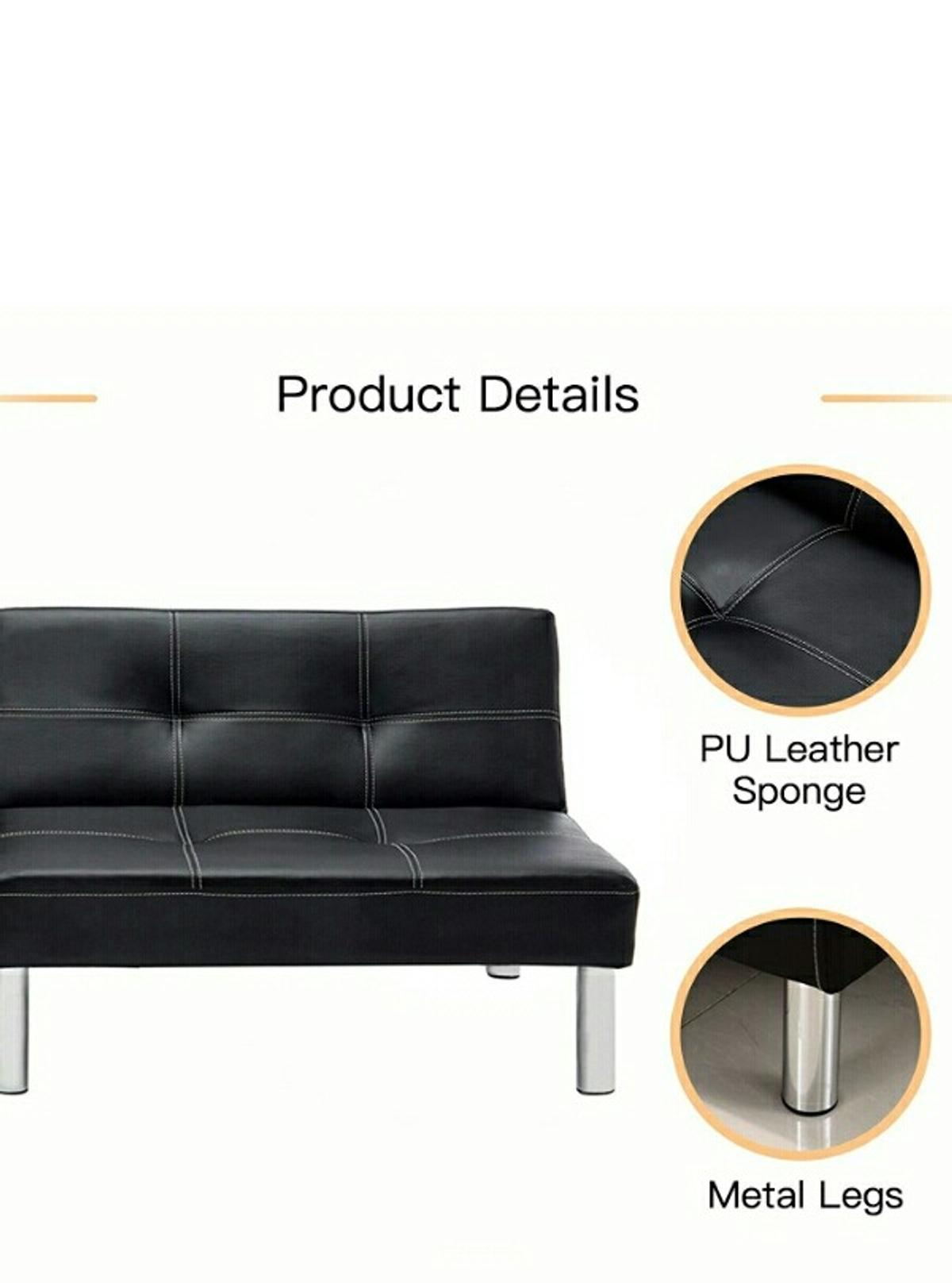CLICK CLACK 3 SEATER PU LEATHER SOFA BED