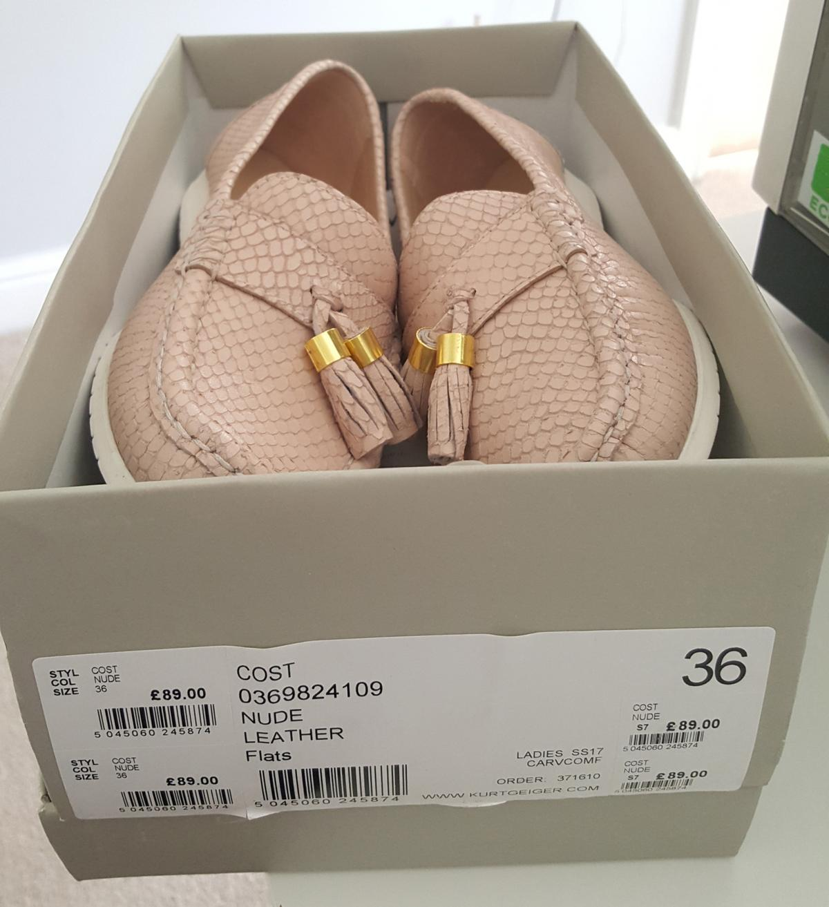 CARVELA Comfort Leather Nude Flat Loafers Size: 36 (UK 4)  BRAND NEW - NEVER WORN Still in original box. Selling due to foot injury and no longer suitable. Made from a lovely soft leather.  Originally paid £89.00 from John Lewis Will post for at cost £5 covered by seller.