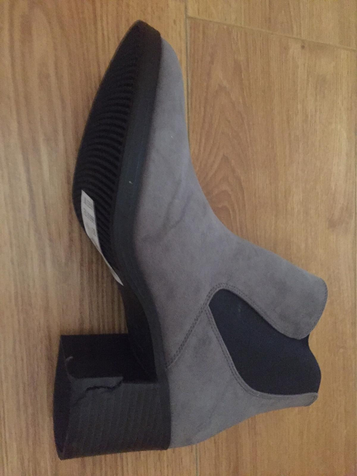 Womens Grey suedette chelsea ankle boots BRAND NEW - never worn Slight damage on one boot heel as can be seen in pictures. Newlook Uk Size 5 (Eu 38) RRP £29.99