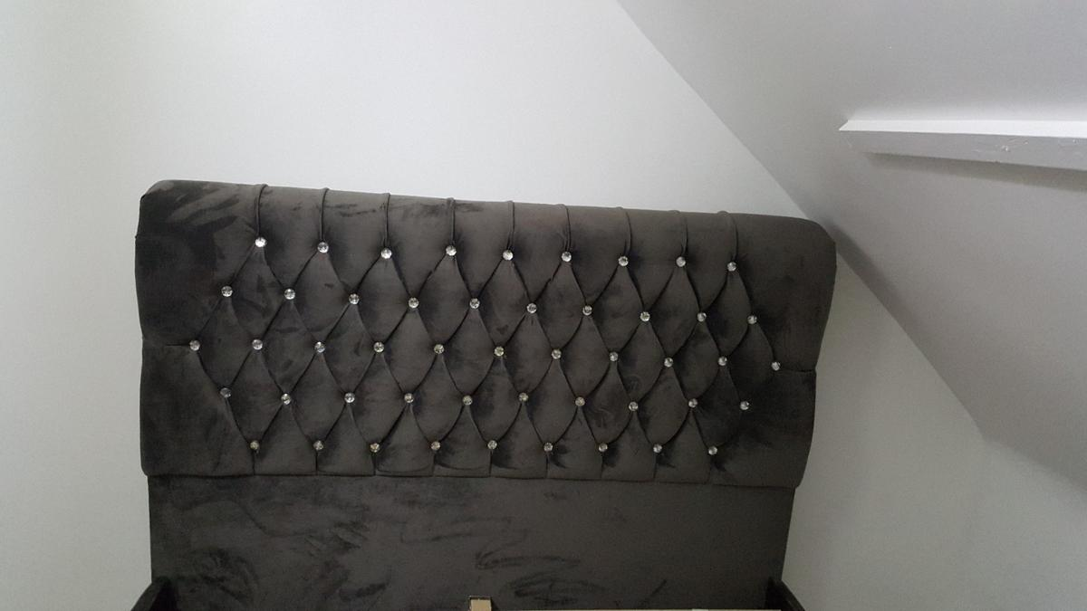 Hi, We sell all types of upholstered sleigh beds. They are available in many different colours, we fit diamonds or matching colour buttons, according to customer requirement. All our beds are solid, made in the uk by our skilled craftsman, These are not cheap china beds. We sell direct to the public, You can try before you buy at our showroom in aston b6.  Single frame £239.99 Double frame £299.99 Kingsize £349.99 You can add double mattress starting from £89.99 or kingsize from £99.99 For more info: 07424105321