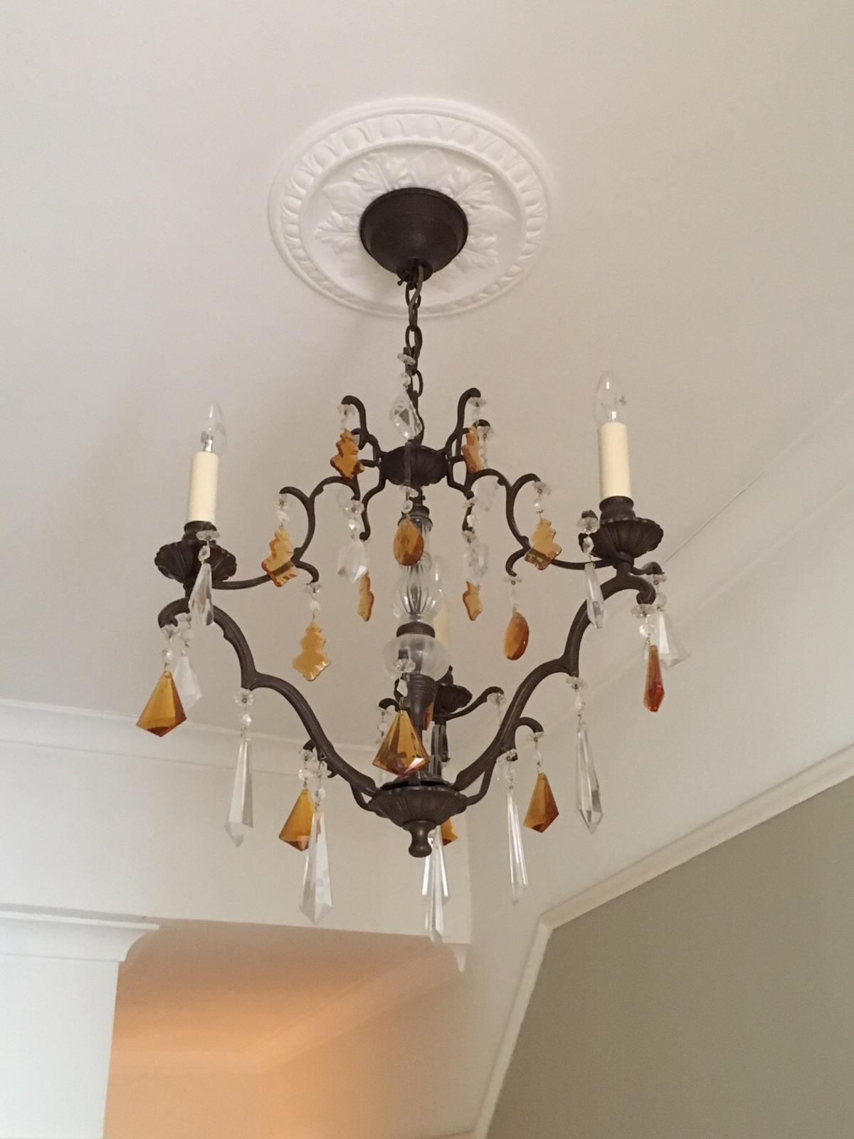 Cast Iron Chandelier With All Crystals