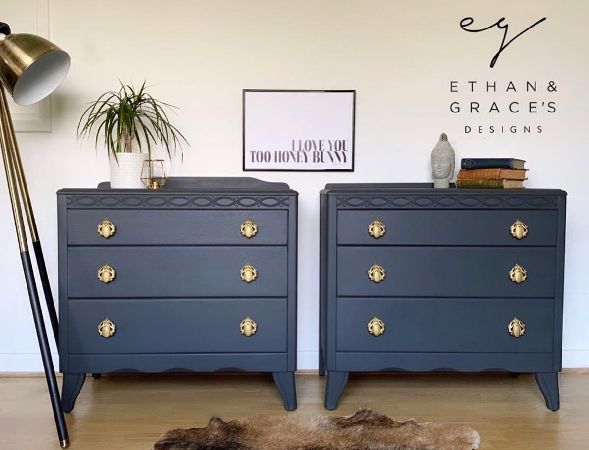 Pro Painted Dark Grey Lebus Chest Of Drawers In Se19 Croydon