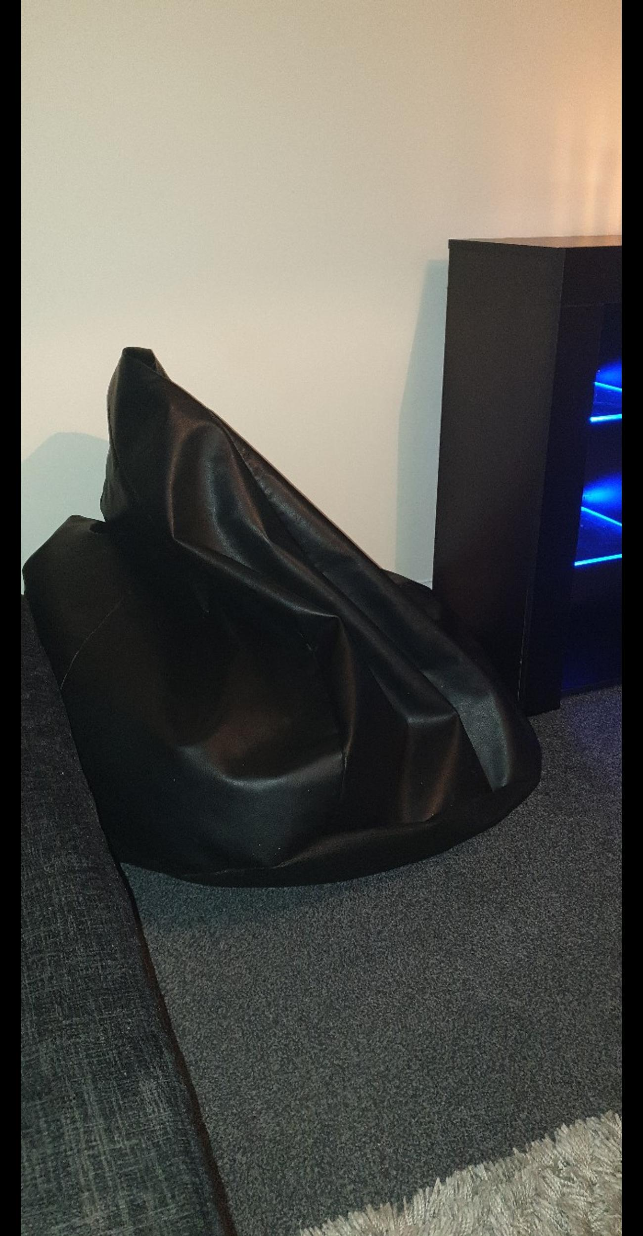 Astounding Large Black Leather Bean Bag Pabps2019 Chair Design Images Pabps2019Com