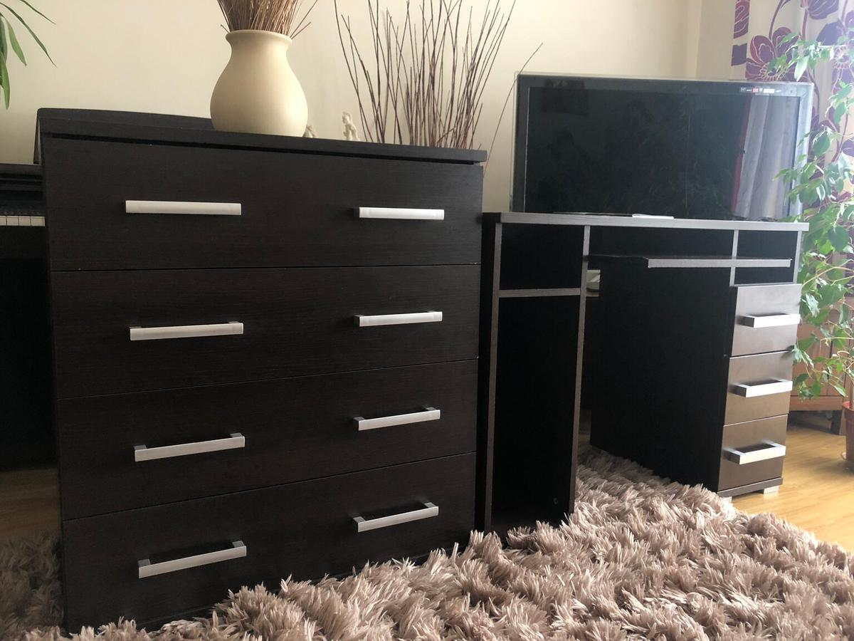 Magnificent Dark Wooden Desk Chest Of Drawers Furniture Home Remodeling Inspirations Cosmcuboardxyz