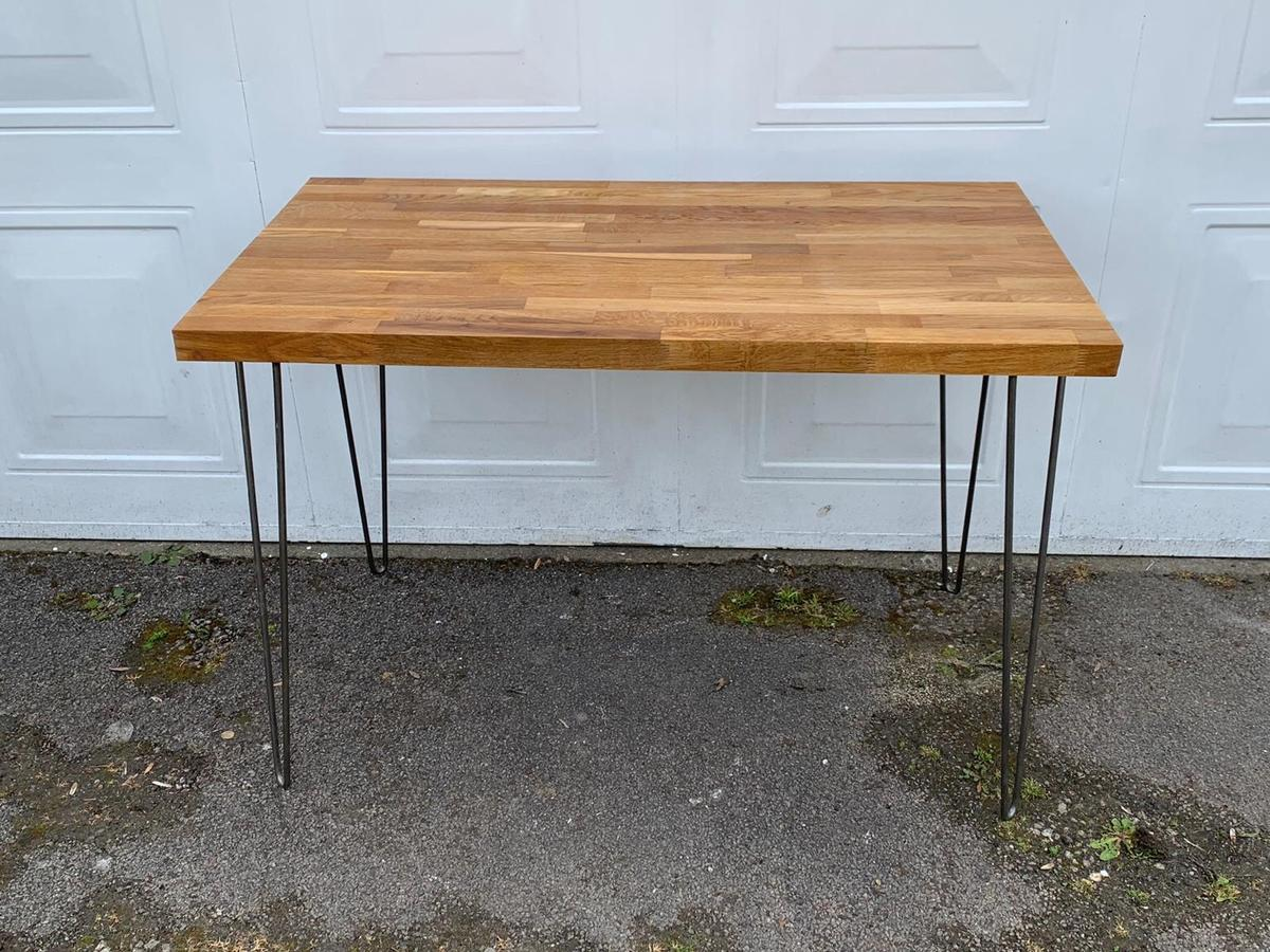 Solid Oak Table With Hairpin Legs