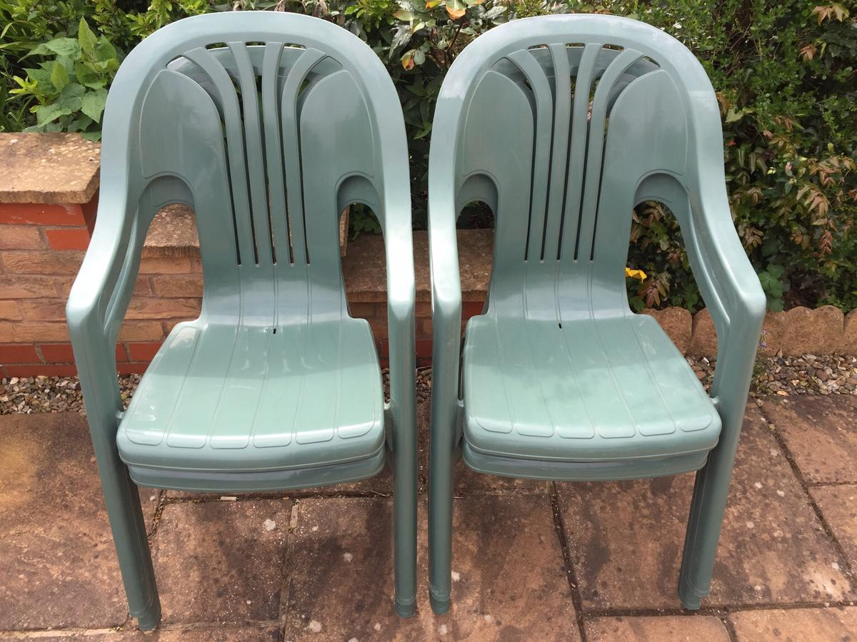 Patio Chairs Green Sturdy Plastic Stackable