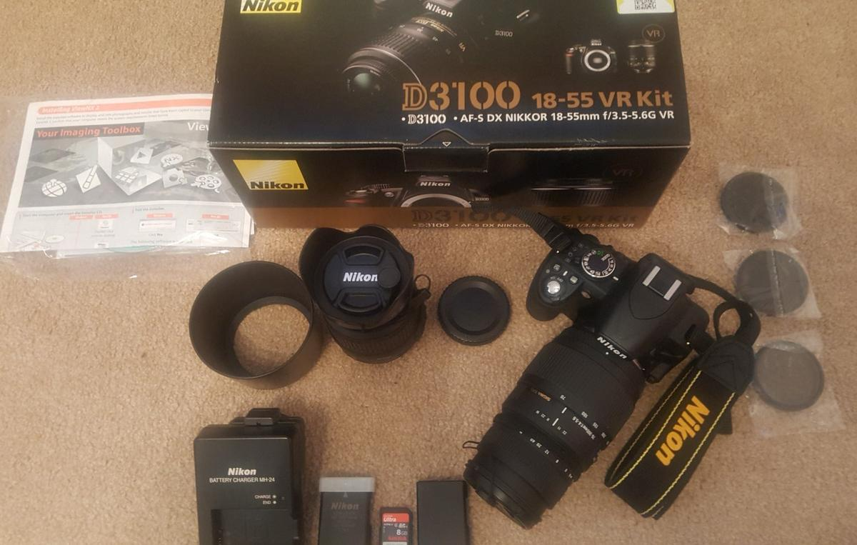 Nikon D3100 DSLR Camera with extras