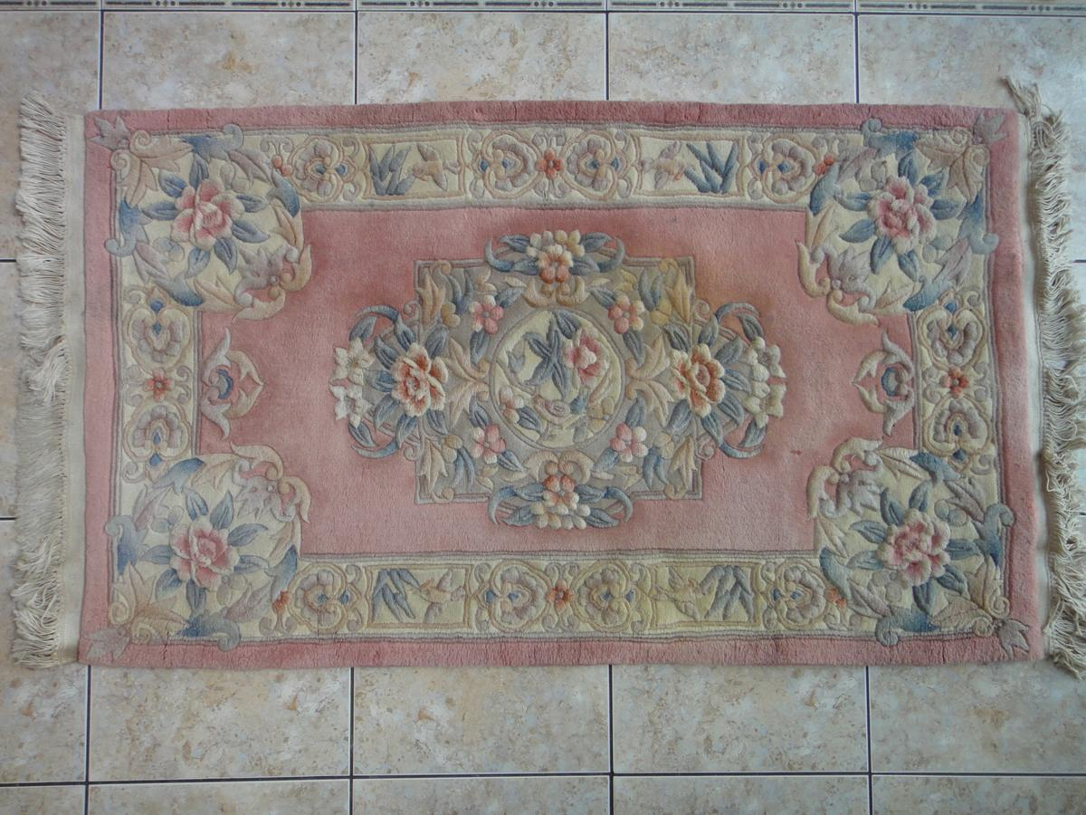 Aubusson Pink Chinese Wool Rug 5ft X 3ft In B70 Sandwell Fur