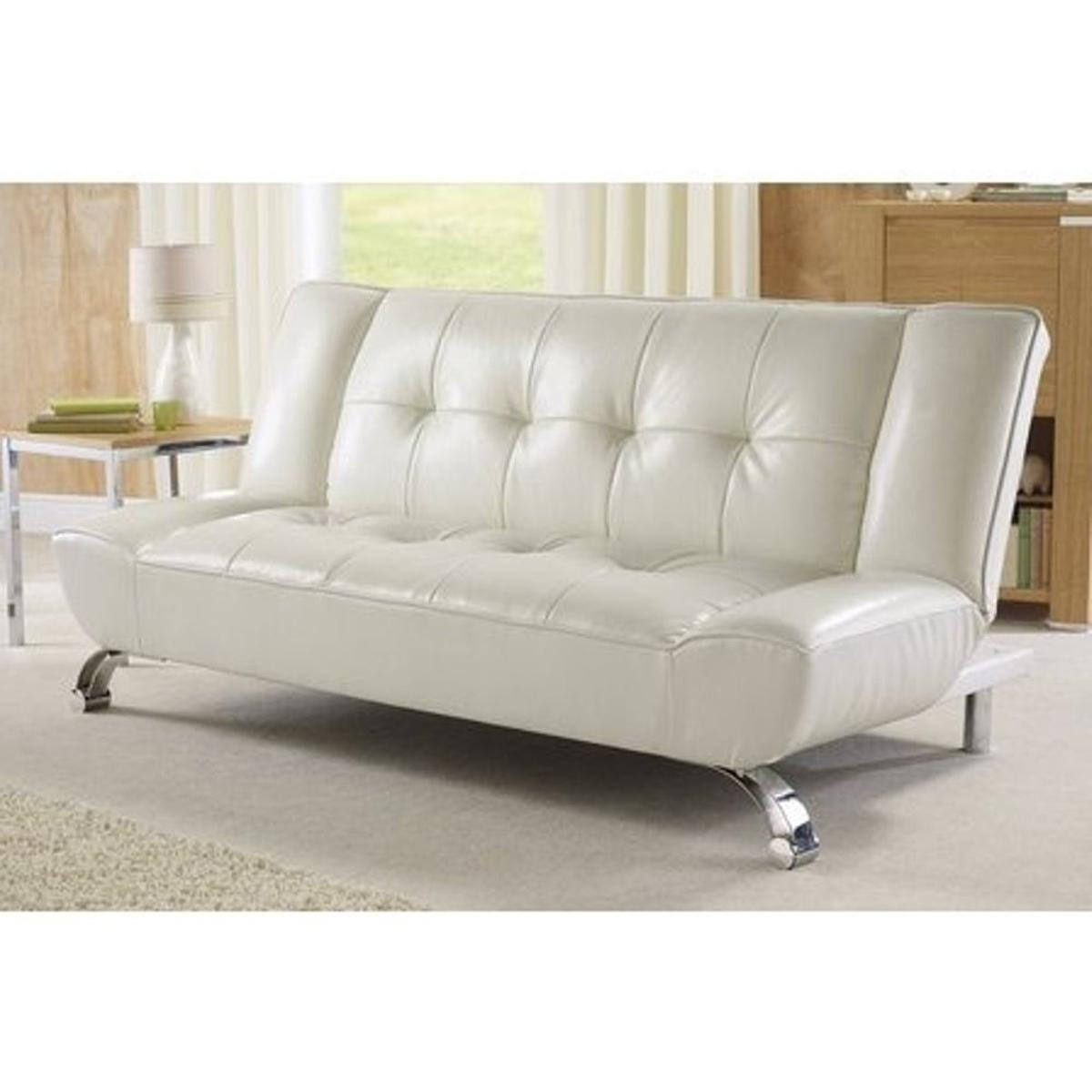 Fabulous Genoa White Faux Leather Sofa Bed In M350Bn Failsworth For Gmtry Best Dining Table And Chair Ideas Images Gmtryco