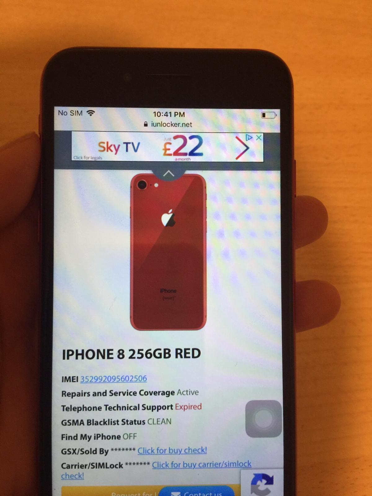 iPhone 8 Red 256gb Network locked (iCloud fre in B24 Birmingham for