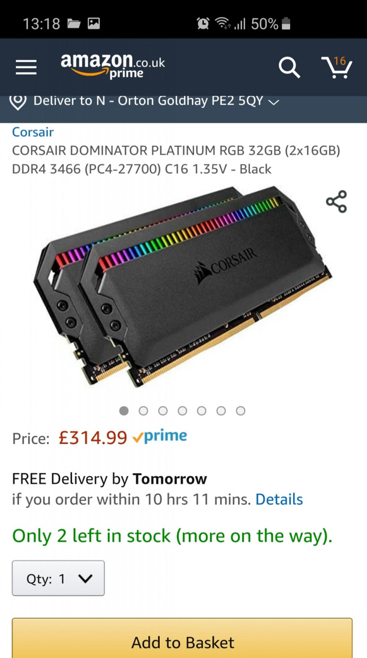 cd08ebca09e corsair dominator platinum rgb pc memory in Peterborough for £210.00 ...