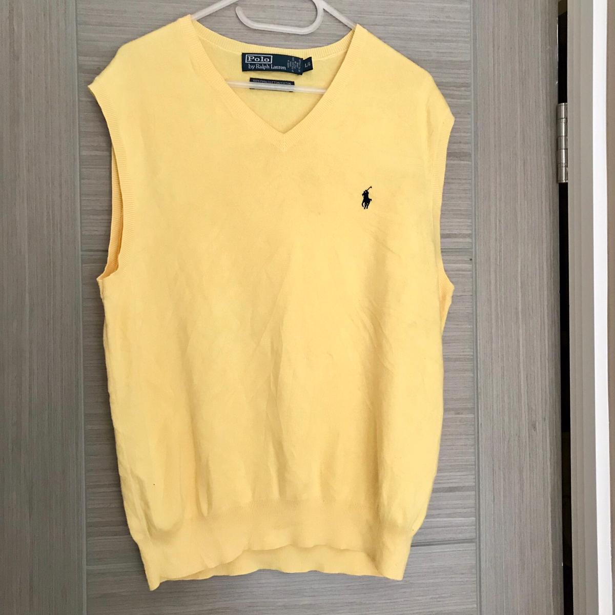 world-wide renown great look how to choose Polo Ralph Lauren Yellow Sleeveless Jumper L