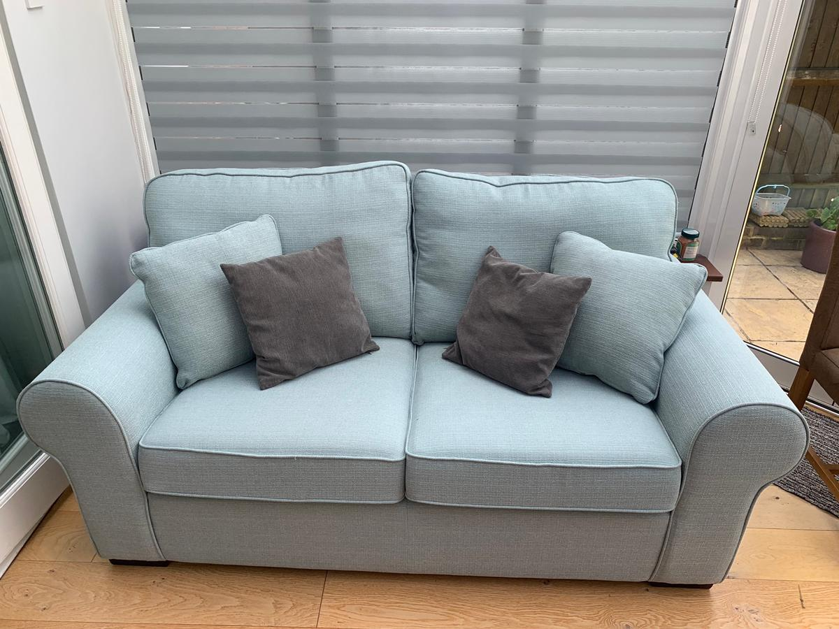 Duck Egg Blue Two Seater Sofa In