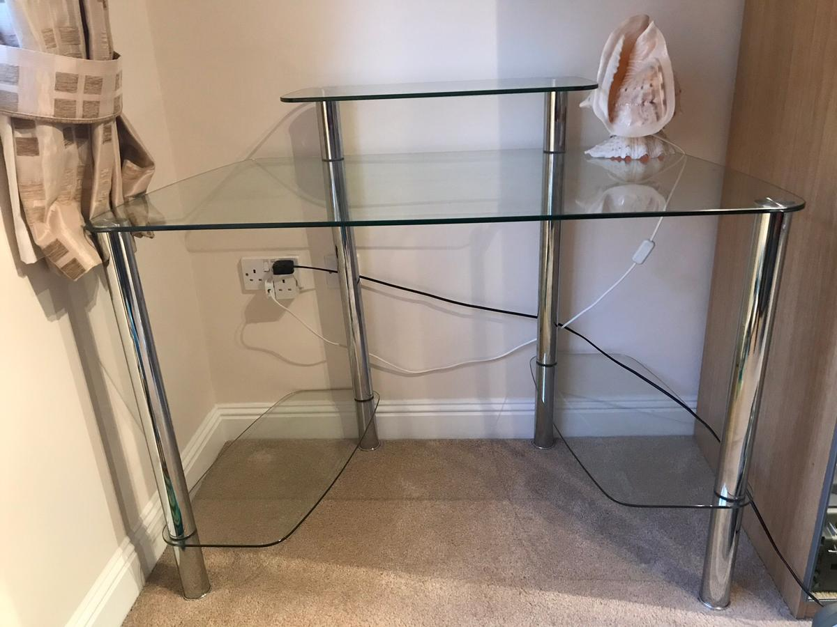 get cheap 4e61a 3081f Glass table with shelves,PC desk,Modern Style
