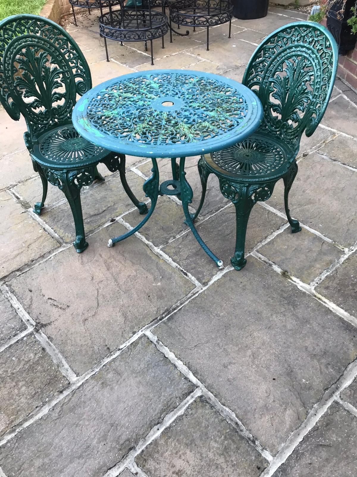 Cast Aluminium Garden Table And Two