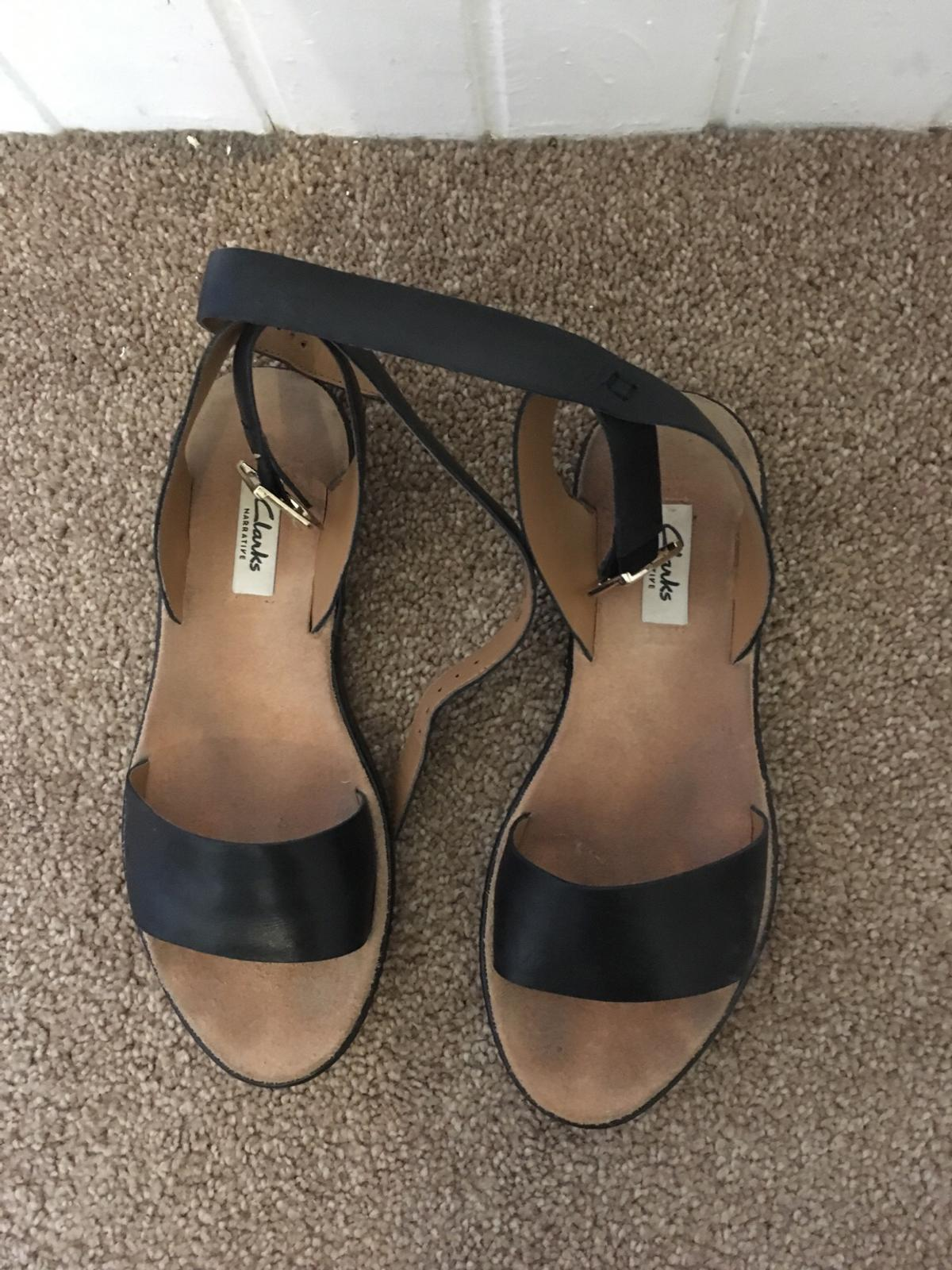 Clarks black leather sandals uk 5 in Manchester for £20.00