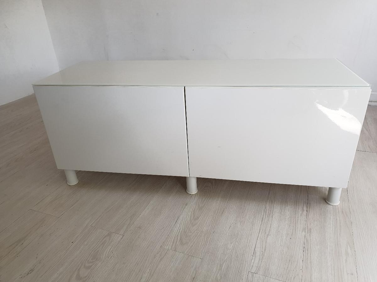 Ikea White High Gloss Tv Unit Gl Top Immac
