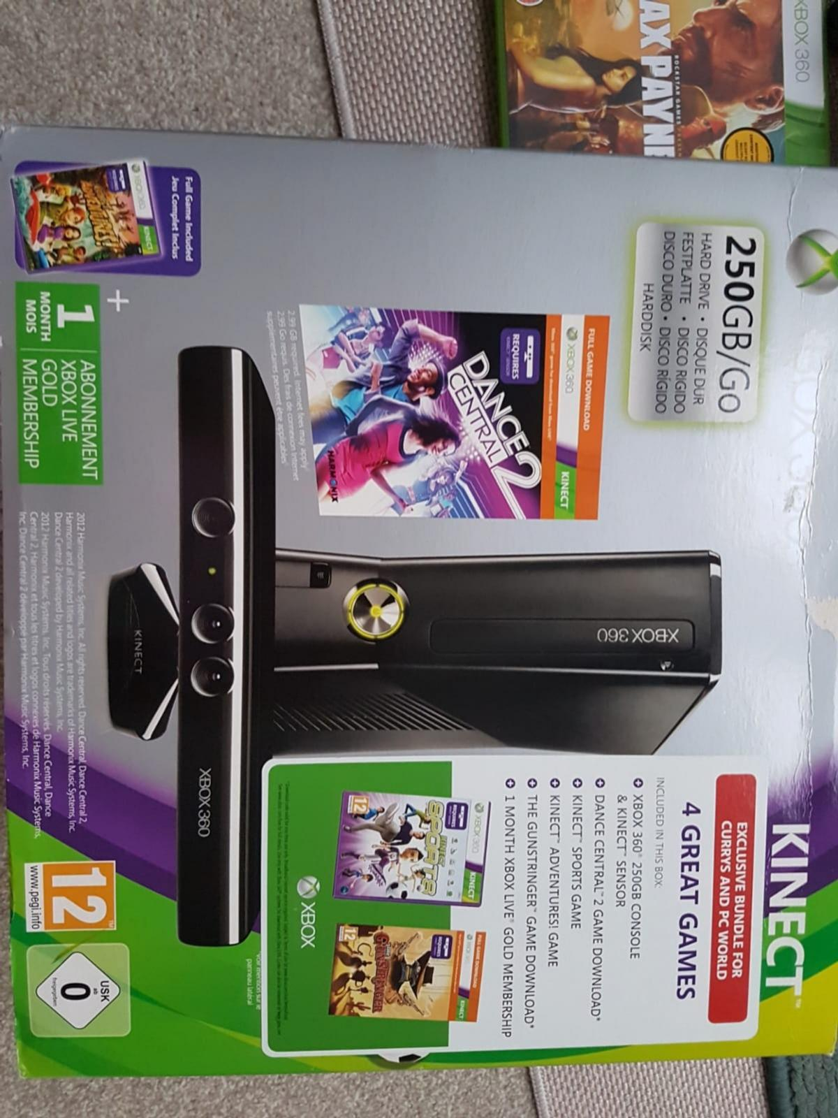 XBOX 360 KINECT, 6 GAMES + 2 CONTROLLERS