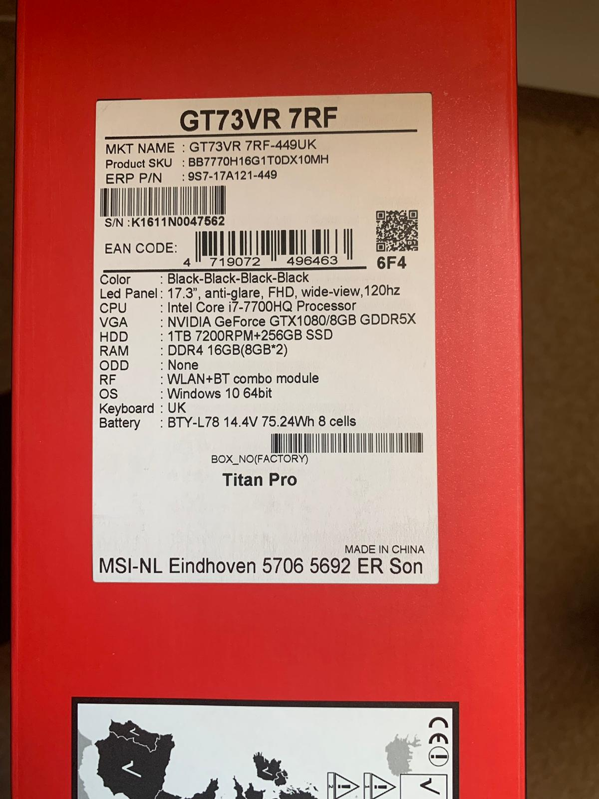 MSI Gaming Laptop in TF2 Lilleshall for £1,075 00 for sale
