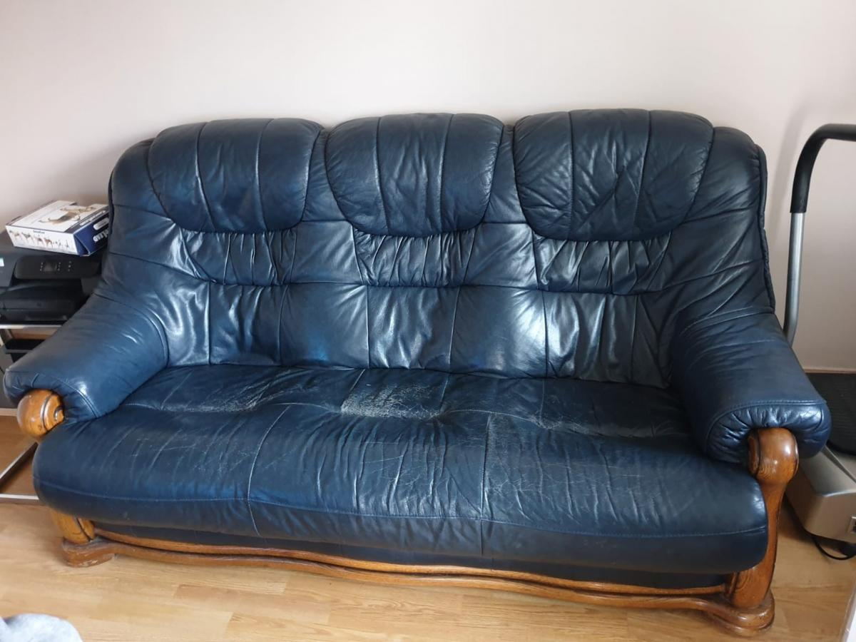 - Navy Blue Solid Wood Leather Sofas 3 2 Seater In Leicester Für 50