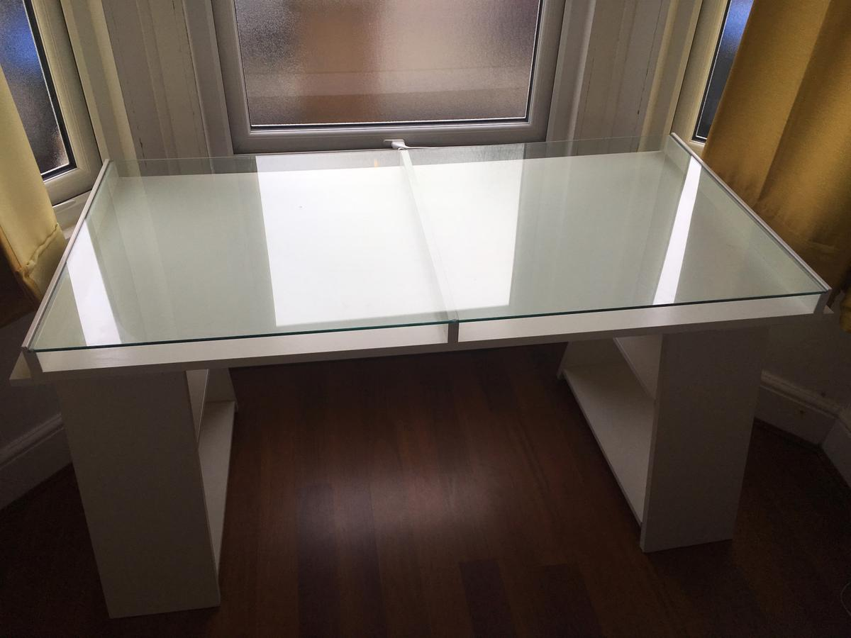 Ikea Glass Top Desk In Nw6 Brent For 35 00 For Sale Shpock