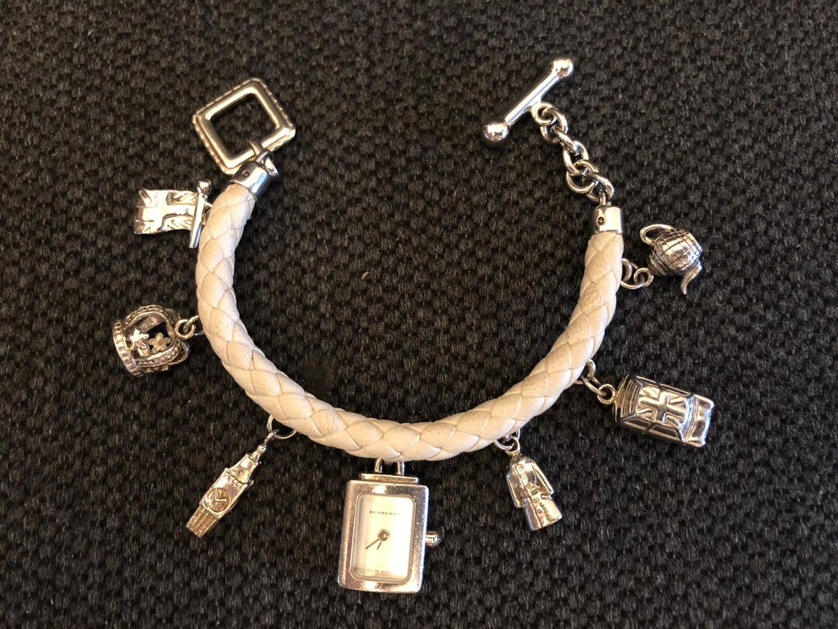 Burberry Silver Charm Bracelet Watch In Gleswade For