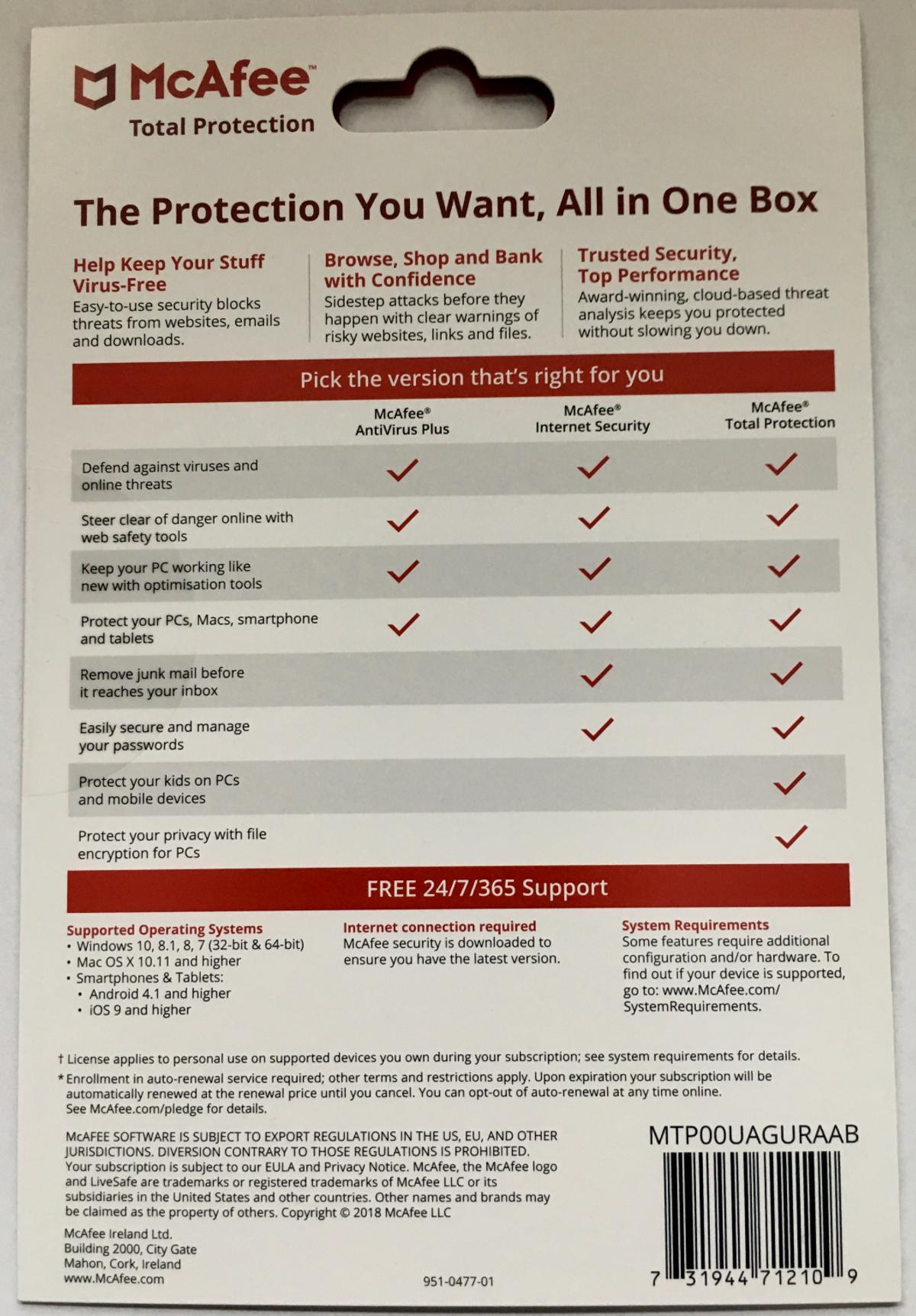 McAfee Total Protection Antivirus 1 Year