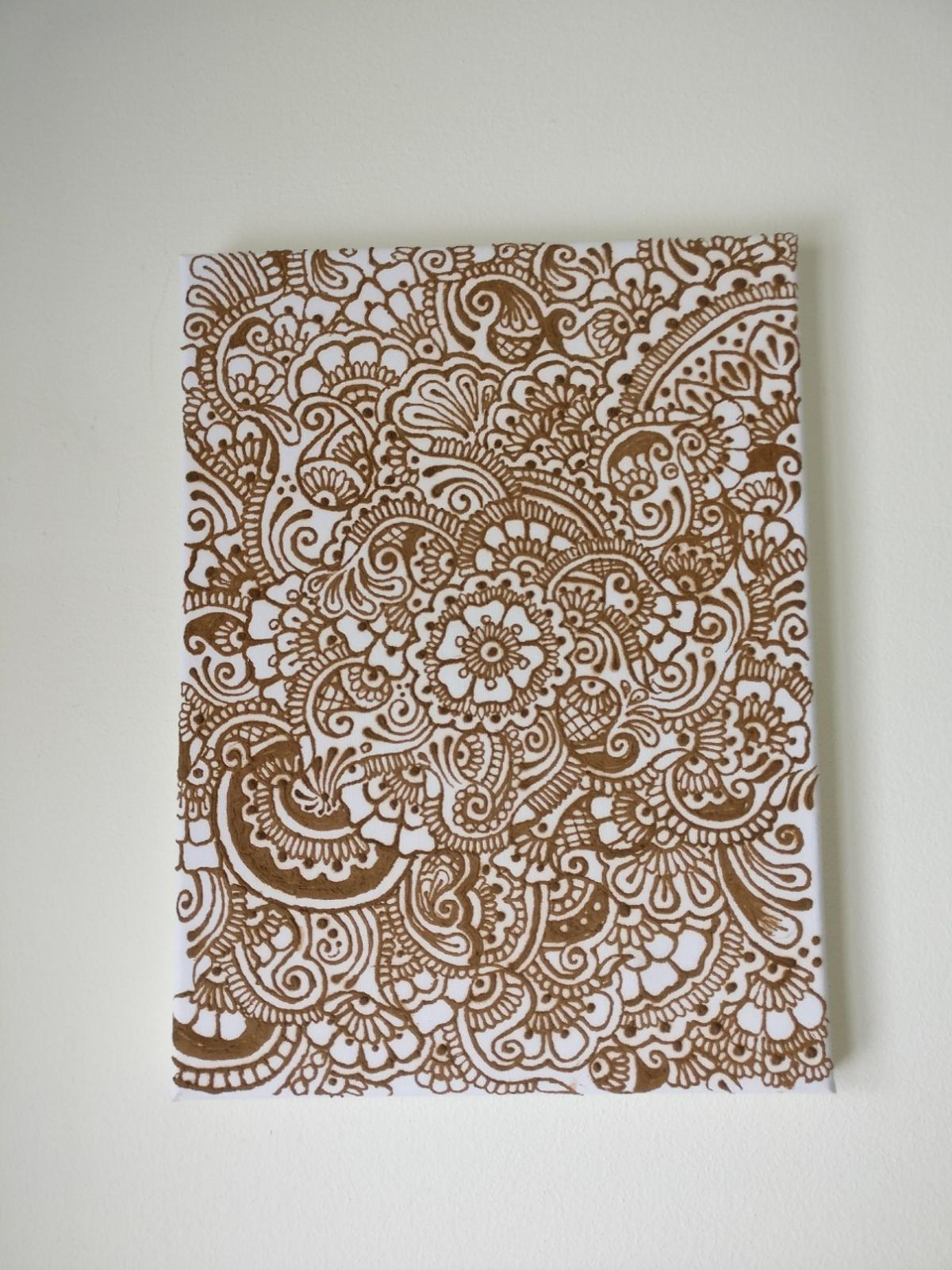Hand Piped Henna Canvas Design Wall Art In Ha9 Brent For