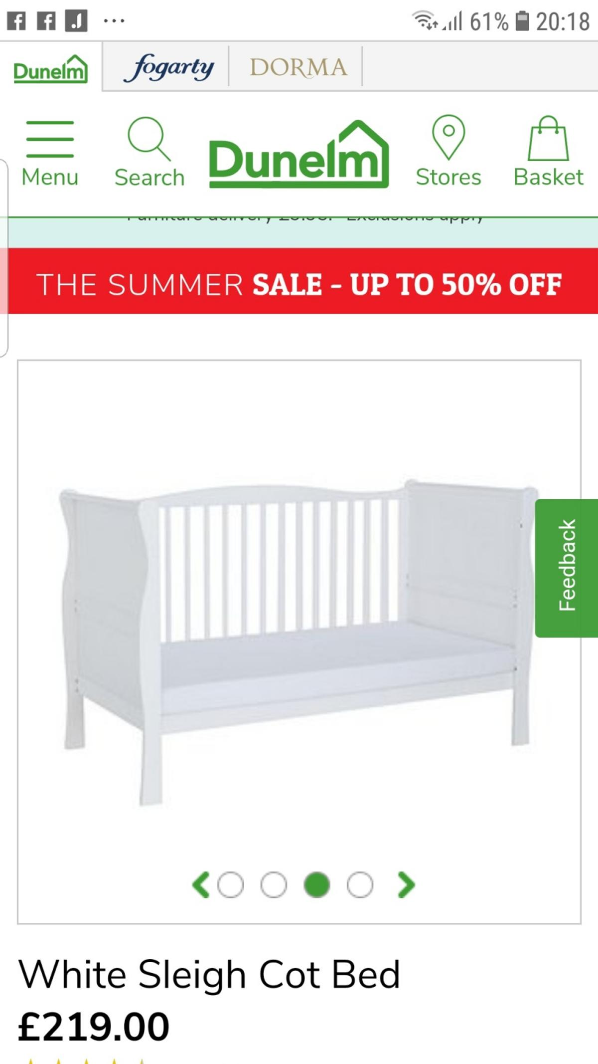 - White Wooden Sleigh Cot Bed From Kiddicare In Dudley Für 40,00
