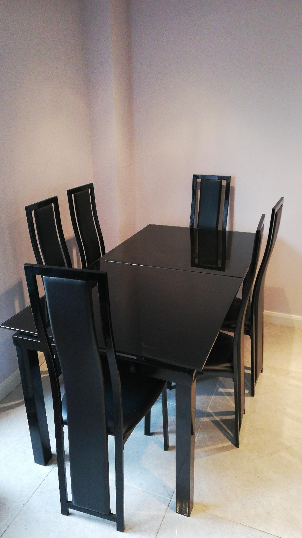 Excellent Black Glass Extending Dining Table Chairs Home Interior And Landscaping Ologienasavecom
