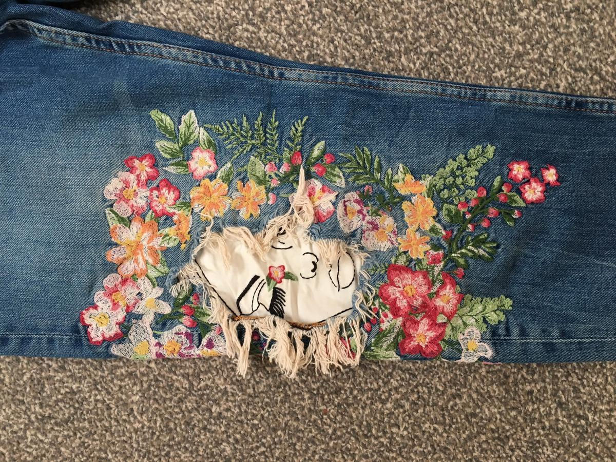 Zara embroidered jeans size uk 10 eur 38
