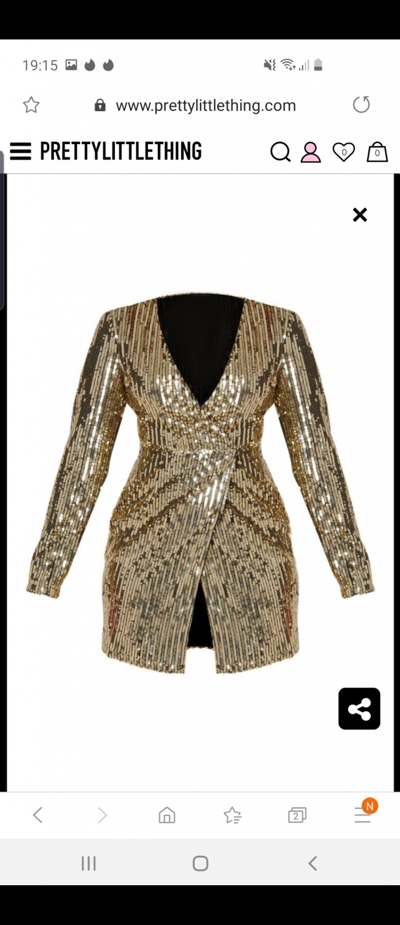 d16c9466 size 4 Gold Sequin Plunge Wrap Bodycon Dress in TW7 London for ...