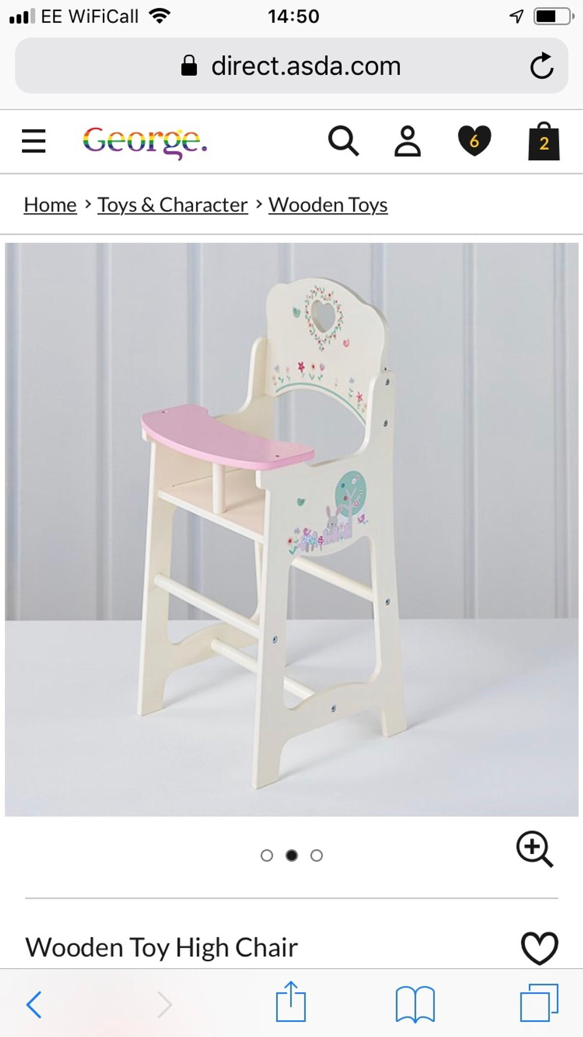 Asda Wooden High Chair Brand New In Box
