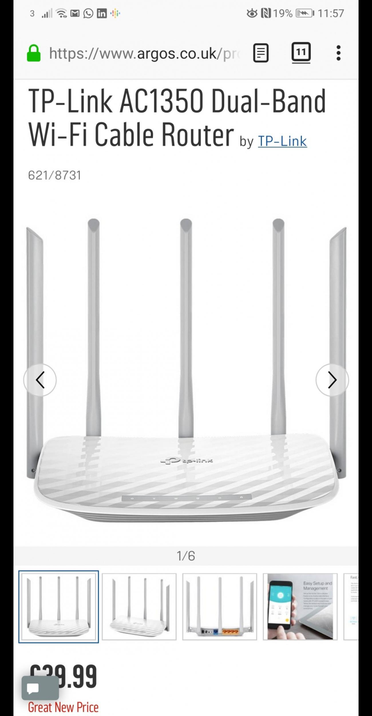 TP-Link AC1350 Dual-Band Wi-Fi Cable Router