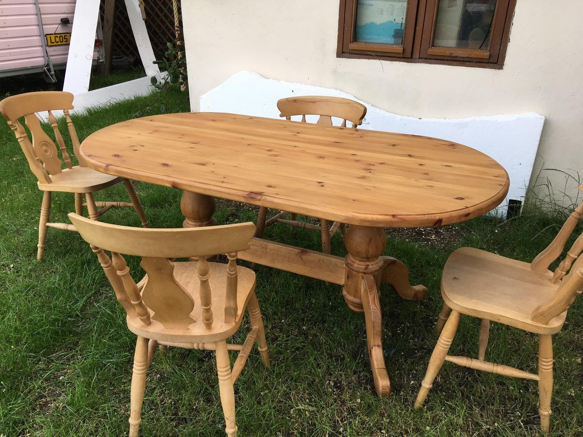 Solid Pine Dining Table And Chairs In