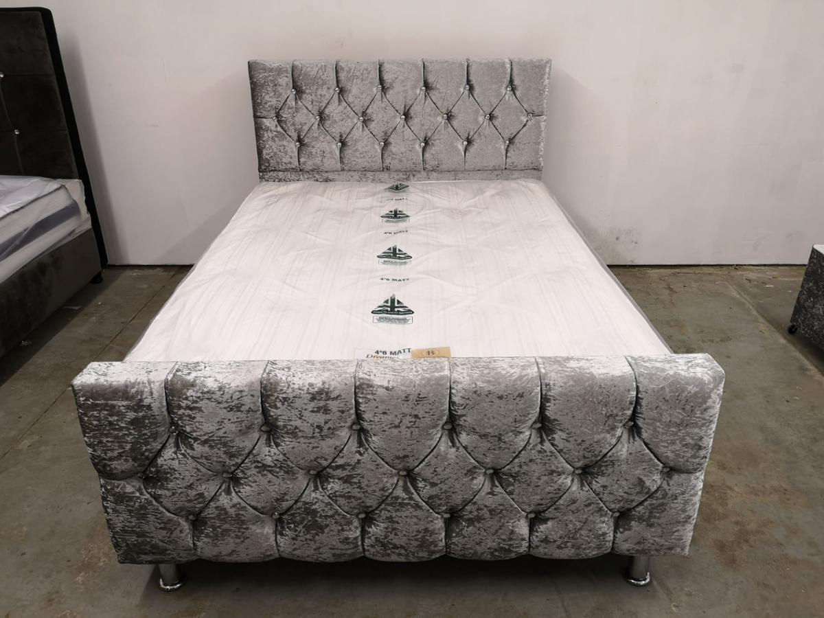 Hi, we sell crushed velvet beds. They are available in many different colours, we fit diamonds or matching colour buttons, according to customer requirement. All our beds are solid, made in the uk by our skilled craftsman, These are not cheap china beds. We sell direct to the public, You can try before you buy at our showroom in aston b6.  Single frame only £119.99 Double frame only £140 Kingsize frame only £170  Single frame with orthopaedic mattress only £190 Double with good quality orthopaedic mattress only £220 Kingsize with good quality mattress £270  For more info please call: 07424105321.