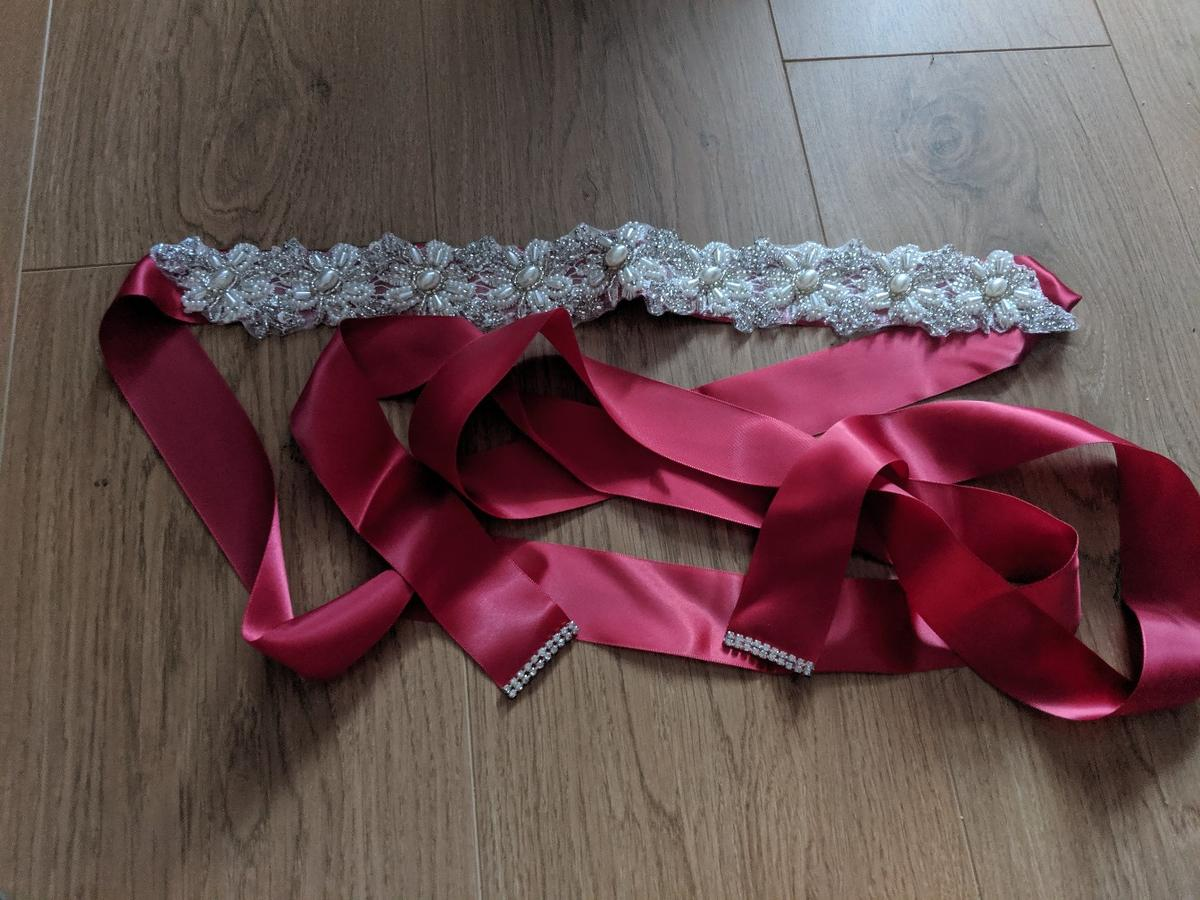 red coloured ribbon bead and lace detail ideal for customising a wedding dress brand new