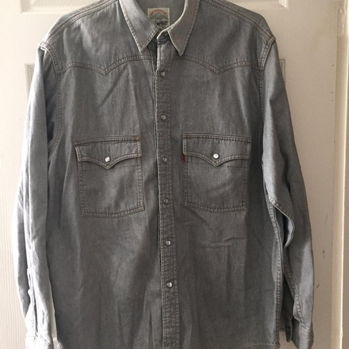 """Two vintage men's Levi's Red tab long sleeve denim shirts £25 each or £40 for 2 1 x grey with white/pearl stud buttons 1 x purple with metal star stud buttons Size large / 42"""" chest Great quality & condition"""