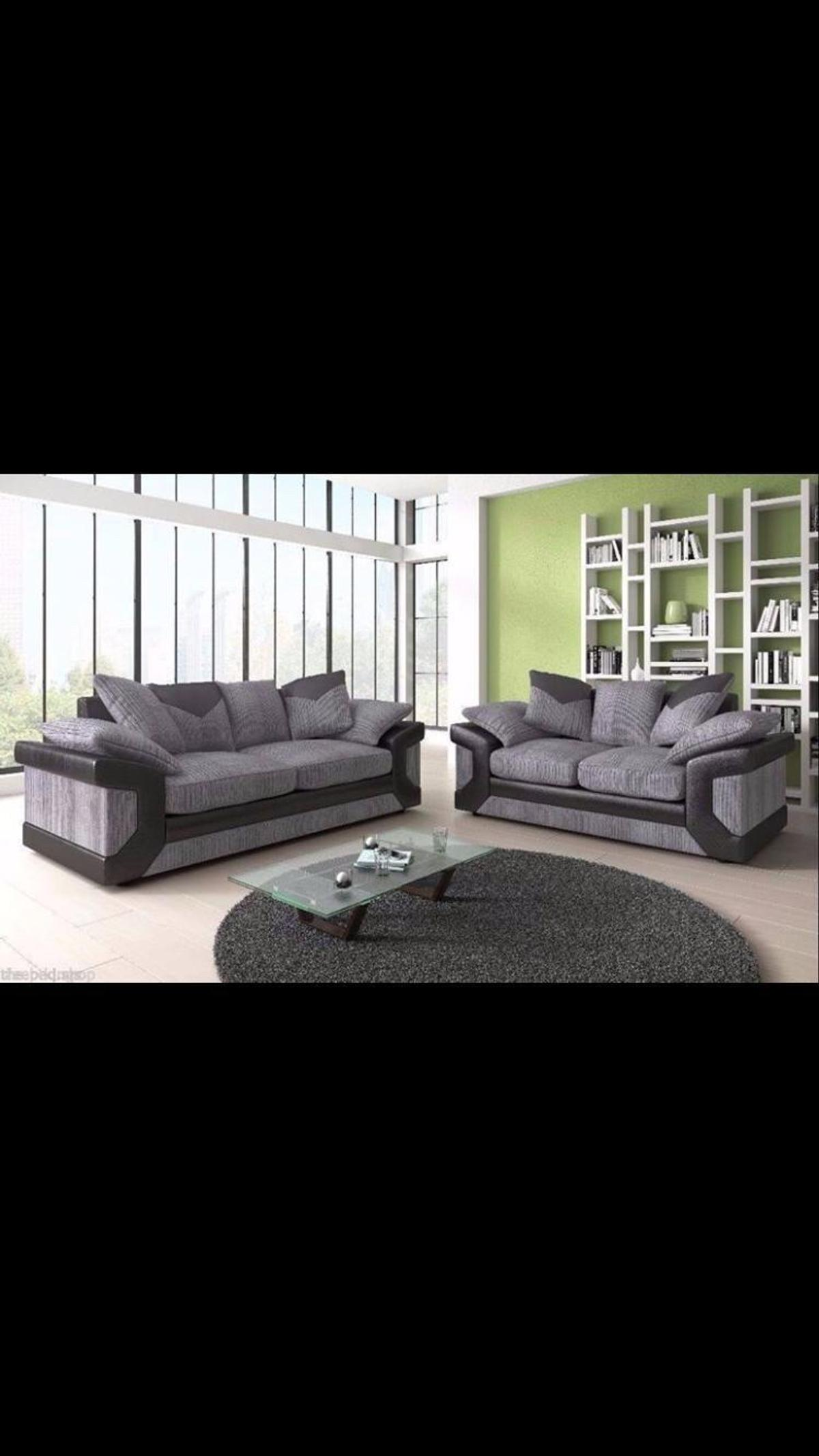 This is the new Dino luxury corner suite,the Dino is available in black/charcoal and also in brown/beige, The Dino has a suede/leather effect fabric effect with a black soft touch deep pile fabric on the main areas.  The Dino has extra deep seats which are fiber filled for body hugging comfort.  DIMENSIONS for corner: Corner Sofa Width: 244 x 222cm Corner Sofa Height: 92cm  PRICE FOR CORNER: - (including all cushions!)  Dimensions for 3+2:-  3 Seater- 210cm x 89cm x 92cm 2 Seater- 180cm x 89cm x 92cm  PRICE FOR 3+2: £379/- (including all cushions!)  COLOUR: Black and Grey OR Brown and Beige  ORIENTATION: Left & right hand side Read less Read less Read less Read less Read less Read less Read less Read less Read less Read less