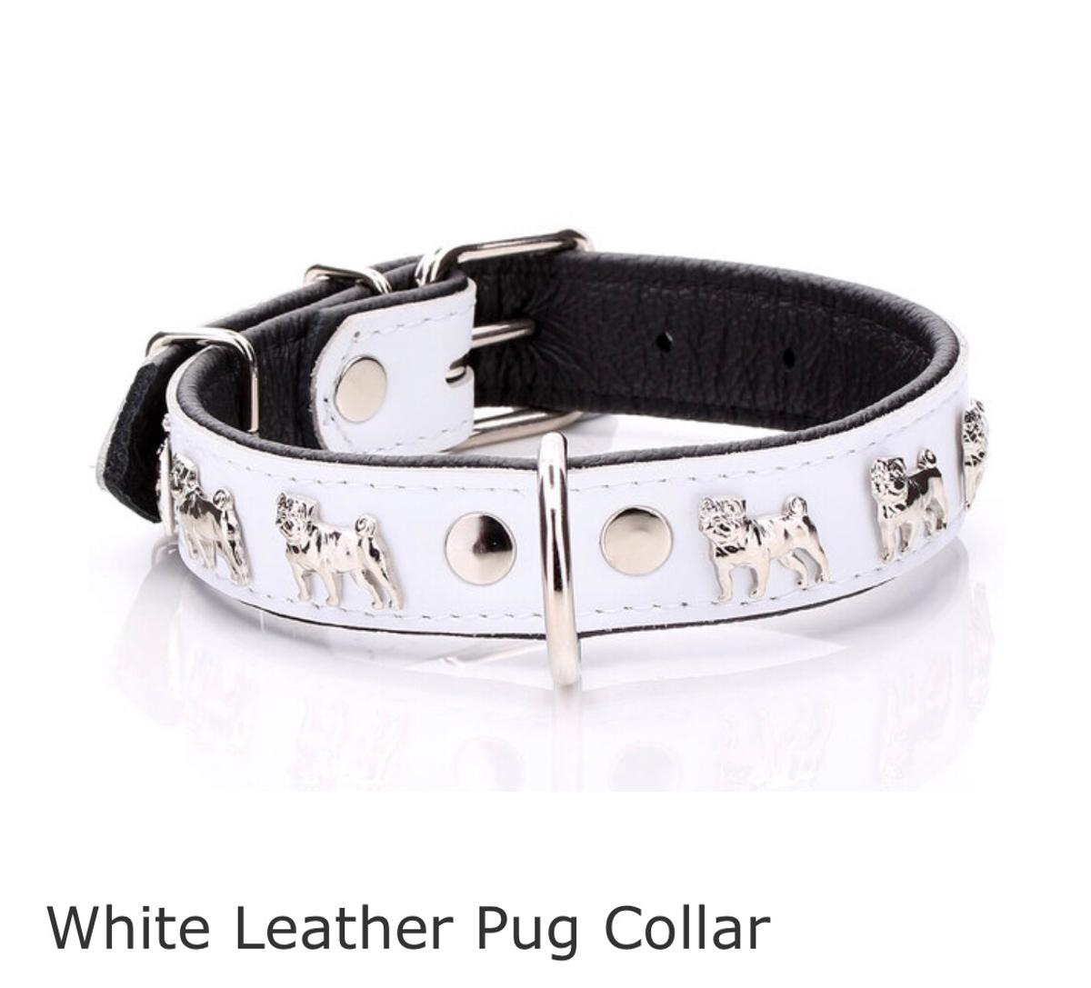 PLEASE NO TIME WASTERS!!!!! Brand new leather dog collar for a pug, measurements on image above