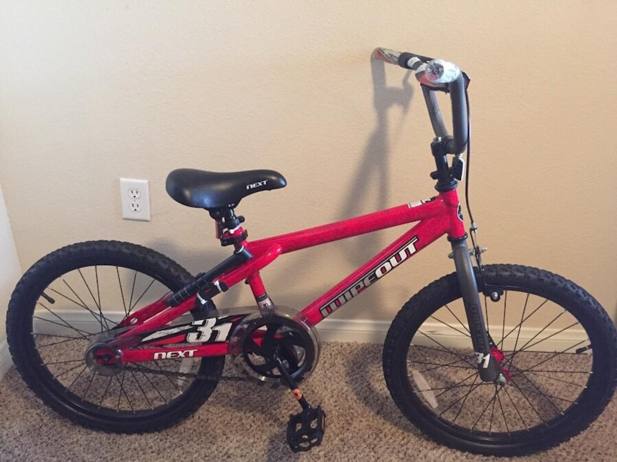 . The tires are perfect condition . I will include a air pump . The body shape is in perfect condition . It's a red kids bike