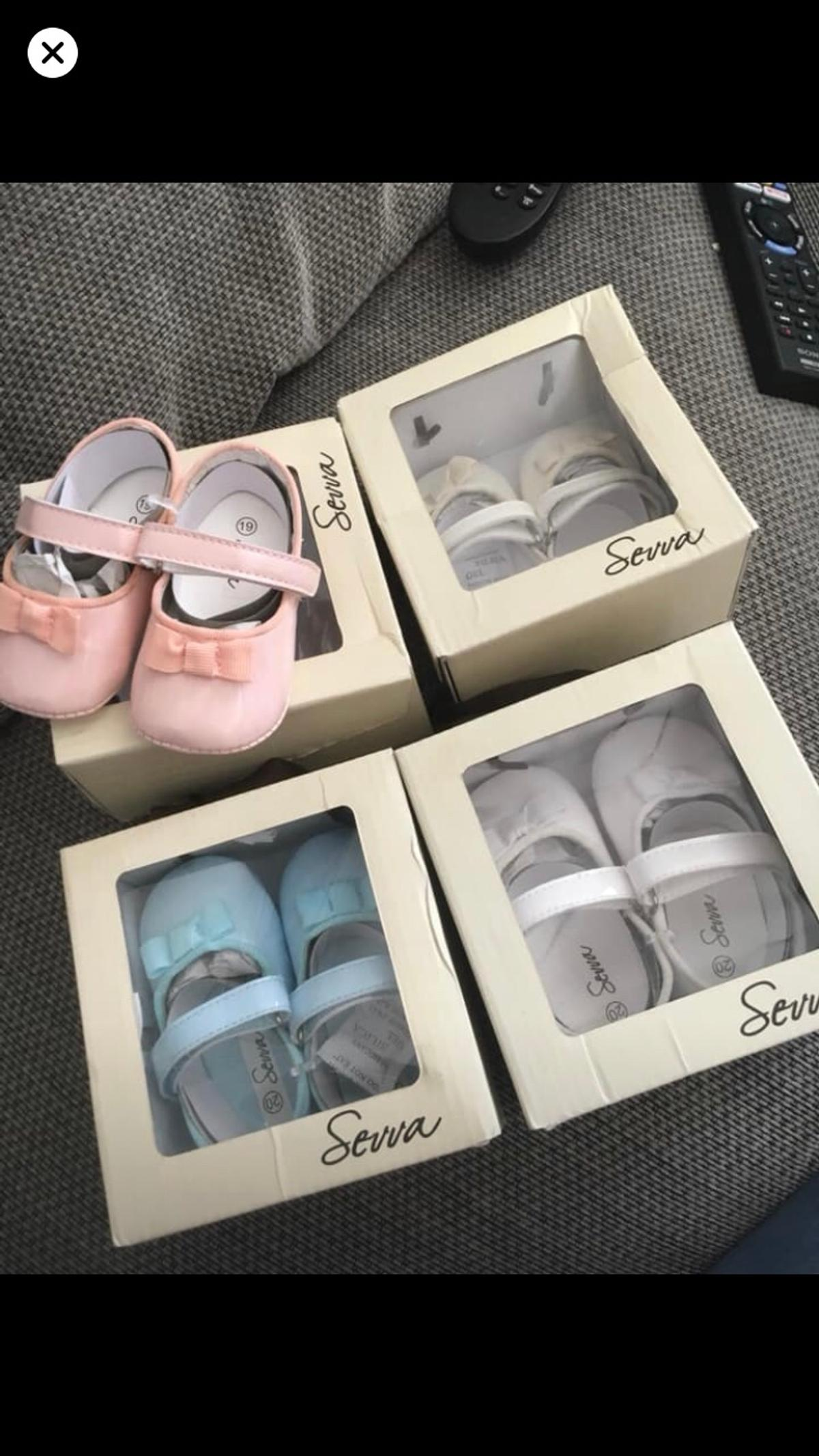 Sevva Spanish Baby Girls Pram Shoes  BRAND NEW IN BOX NEVER WORN  Pink & Cream Size 19 Baby Blue & White Size 20  Paid £12.99 per pair over £50 in total for the four pairs  Wanting  £6 each or £20 for all x