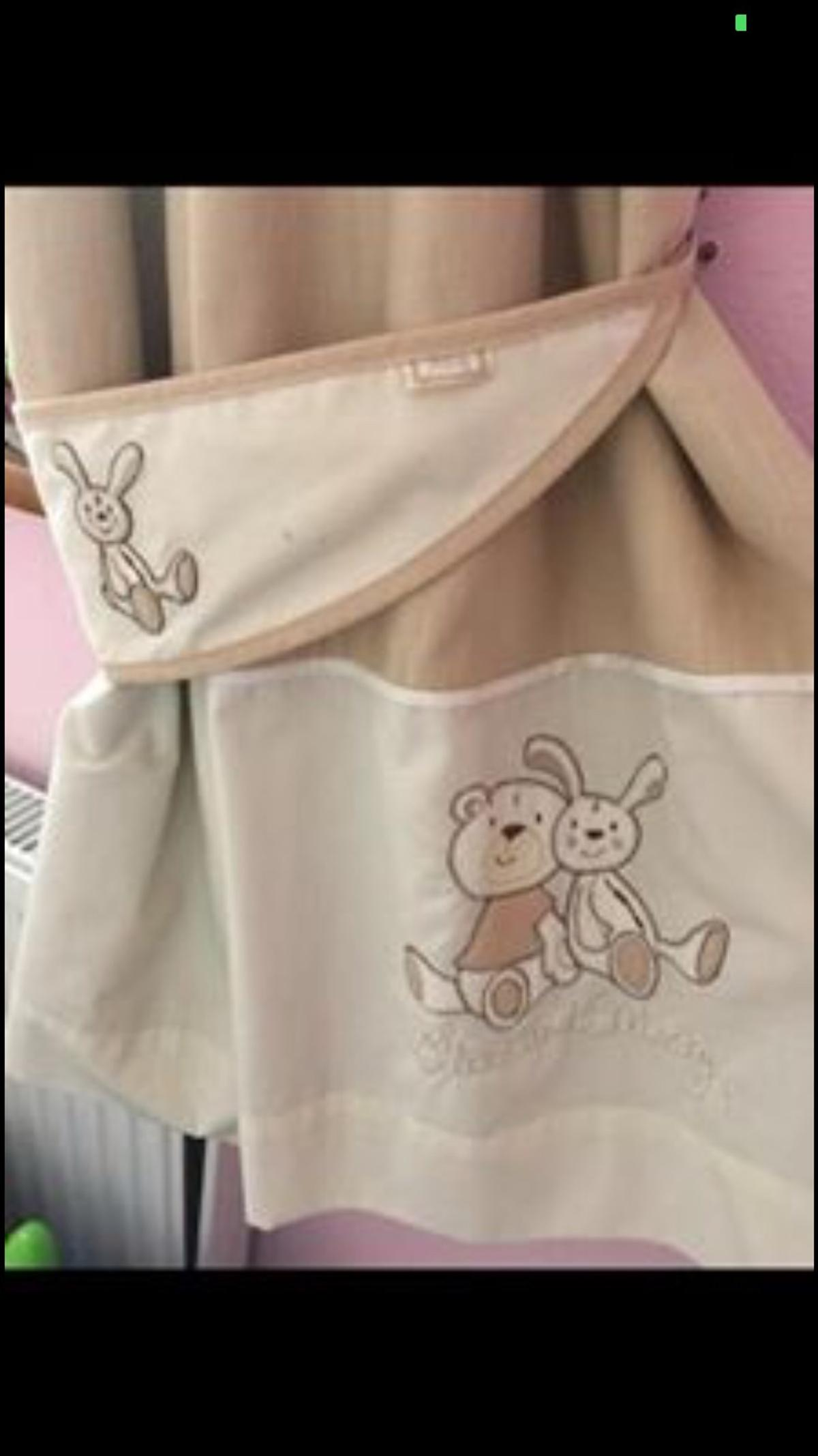 Next nursery set - Ollie and Mollie. Fully lined (black out) curtains and tie backs, lamp shade, rug, mobile, cot blanket and bumpers. Pet and smoke free home. Collection only.