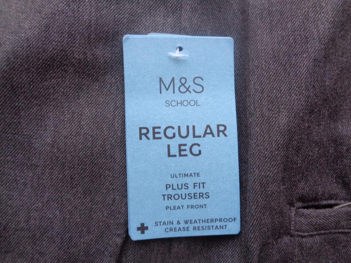 Brand new boys M&S trousers age 15-16 years, ultimate fit with pleat front (waist 34 inch and adjustable). My sone grew out of these before he got to wear them. From smoke and pet free house. Cash on collection only.