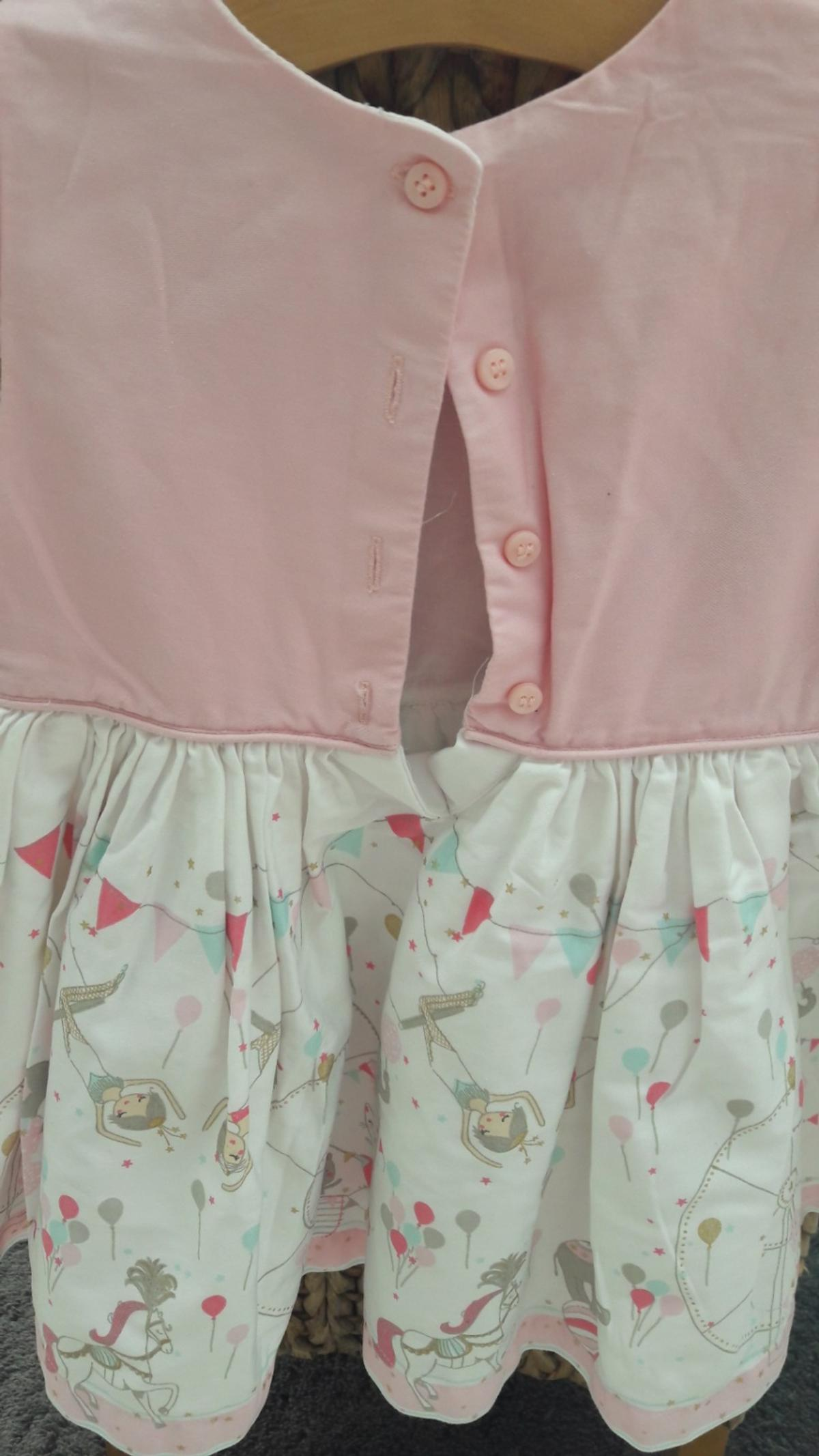 Beautiful little girls summer dress Baby pink and white with animals and the circus on. Fully lined. Beautiful colours.. Fantastic condition Aged 18-24 months. Paid £29 Only worn once Willing to accept £9 NO OFFERS PLEASE THANKS Check out my other items i have lots of beautiful little girls dresses 👧👼👩👵 Thanks