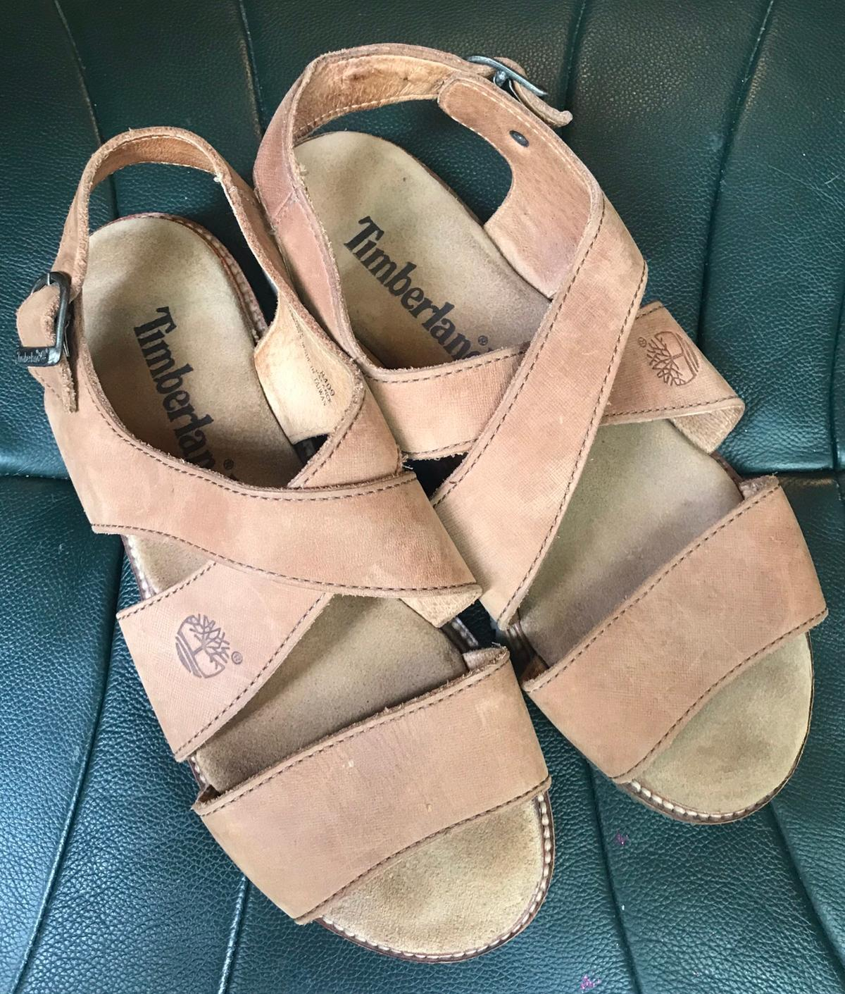TIMBERLAND unisex tan leather sandals size 6.5 (EUR 39.5). Worn once on holiday only. Very good condition. Collection from Pimlico or NW8 area, or £3.50 Postage Costs for UK Royal Mail Delivery.