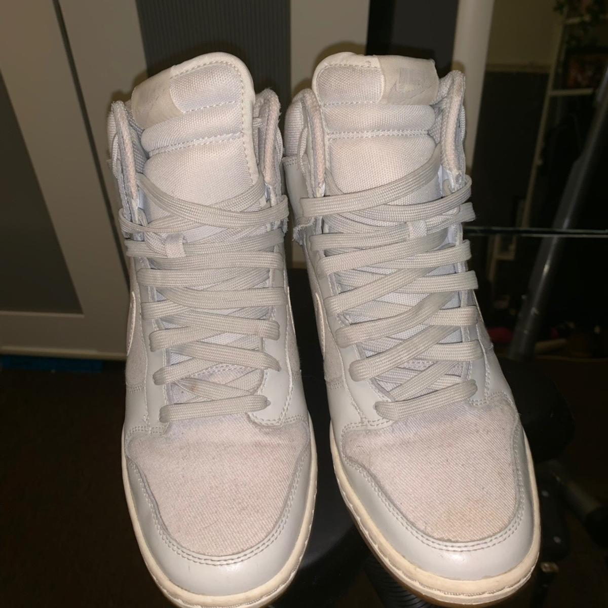 Official Nike heeled trainers in white Size 7 Worn a few times, condition Is as seen, decent Looking for £15  Collection and shipping available