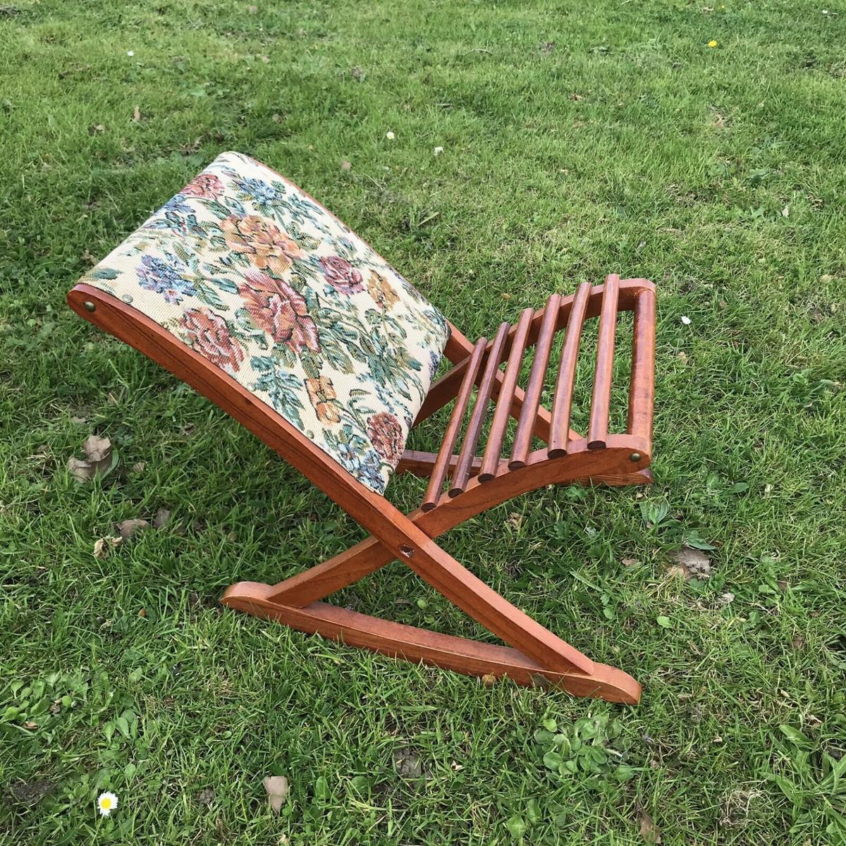 Awe Inspiring Vintage Rocking Footstool Wooden Tapestry Squirreltailoven Fun Painted Chair Ideas Images Squirreltailovenorg
