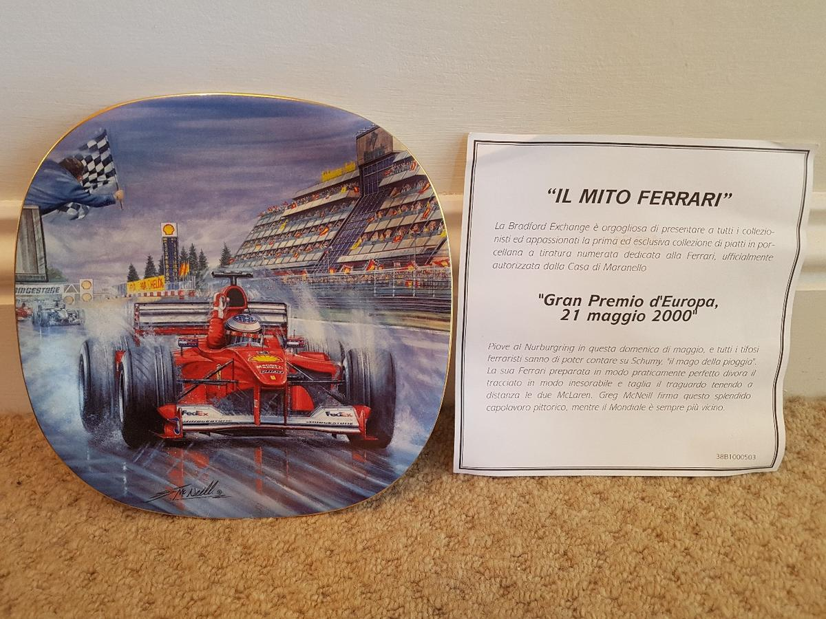 LIMITED EDITION FERRARI PLATE WITH CERTIFICATE. EUROPEAN GRAND PRIX 2000......  COLLECTION BARNEHURST CAN BE POSTED VIA SIGNED FOR AND TRACKED DELIVERY FOR £3.85